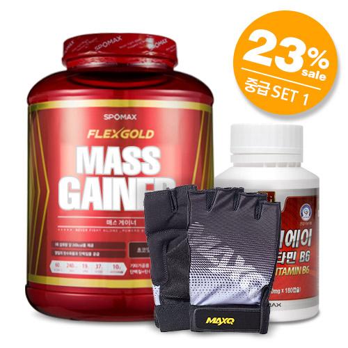 [무료배송+23%할인]매스게이너4kg+BCAA아미노산 비타민B6+헬스장갑고급형